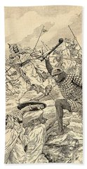 The Battle Of Tours Aka The Battle Of Poitiers, 732.   From Agenda Buvard Du Bon Marche Published Hand Towel