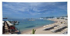 Bath Towel featuring the photograph The Beach At Cannes by Allen Sheffield