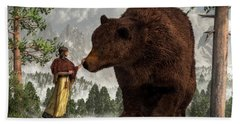 The Bear Woman Hand Towel by Daniel Eskridge