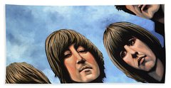 The Beatles Rubber Soul Hand Towel by Paul Meijering