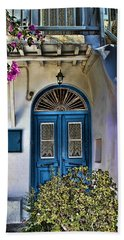 The Blue Door-santorini Bath Towel by Tom Prendergast
