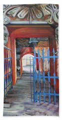 Bath Towel featuring the painting The Blue Gate by Marina Gnetetsky