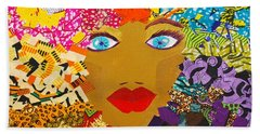 Bath Towel featuring the tapestry - textile The Bluest Eyes by Apanaki Temitayo M