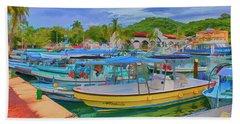 The Boats Of Hautulco Bath Towel