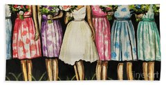 The Bride And Her Bridesmaids Hand Towel