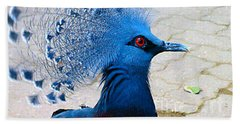 Bath Towel featuring the photograph The Bright Blue Bird by Nina Silver