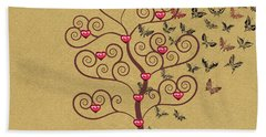 the Butterly heart Tree Hand Towel