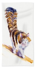 The Calico Cat That Walked By Himself Bath Towel