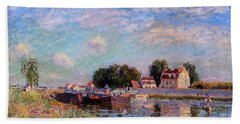 The Canal At Saint-mammes Bath Towel by Alfred Sisley