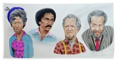 The Cast Of Sanford And Son  Bath Towel by Jim Fitzpatrick