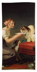 The Cats Lunch Oil On Canvas Hand Towel