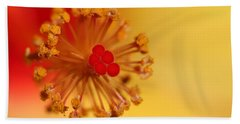 Hand Towel featuring the photograph The Center Of The Hibiscus Flower by Debbie Oppermann