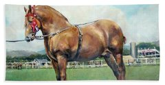 Hand Towel featuring the painting The Champ by Donna Tucker