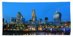 The Cheesegrater And The Walkie Talkie Hand Towel by Jasna Buncic