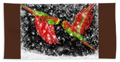 Bath Towel featuring the painting The Christmas Keets by Jean Pacheco Ravinski