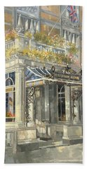 The Connaught Hotel, London Oil On Canvas Hand Towel