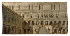 The Coronation Of The Doge Of Venice On The Scala Dei Giganti Of The Palazzo Ducale, 1766-70 Oil Bath Towel