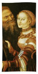 The Courtesan And The Old Man, C.1530 Oil On Canvas Hand Towel