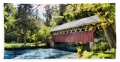 The Covered Bridge At The Red Mill Hand Towel