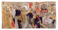 The Crowning Of Emperor Nicholas II 1868-1918 In The Assumption Cathedral, 1896 Oil On Canvas Bath Towel