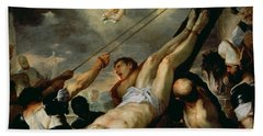 The Crucifixion Of Saint Peter, C.1660 Oil On Canvas Hand Towel