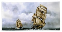The Cutty Sark And The Red Clipper Hand Towel