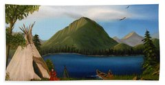 Hand Towel featuring the painting Dawn Of Tohidu by Sheri Keith