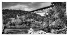 The Deception Pass Bridge II Bw Bath Towel by David Patterson