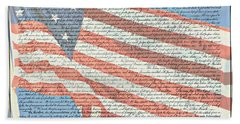 The Declaration Of Independence - Star-spangled Banner Bath Towel
