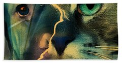 Bath Towel featuring the digital art The Dog Connection -green by Kathy Tarochione