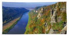 The Elbe Sandstone Mountains Along The Elbe River Bath Towel
