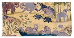 The Elephant Hunt Hand Towel by Indian School