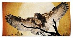 The Eurasian Eagle Owl And The Moon Bath Towel by Kathy Baccari