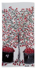 The Famous Door County Cherry Tree Hand Towel by AndyJack Andropolis