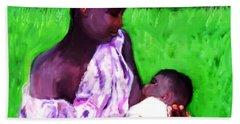 Bath Towel featuring the painting The Feeding 2 by Vannetta Ferguson