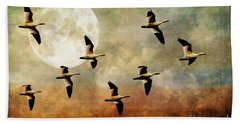 The Flight Of The Snow Geese Bath Towel by Lois Bryan