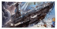 The Flying Submarine Bath Towel by Reynold Jay