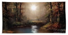 Bath Towel featuring the painting Sunrise Forest  by Michael Rucker