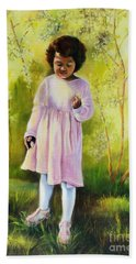 Bath Towel featuring the painting The Forsythia by Marlene Book