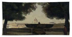 The Fountain Of The French Academy In Rome, 1826-27 Oil On Canvas Bath Towel