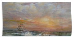 Bath Towel featuring the painting Sunlit  Frigate by Luczay