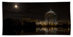 The Full Moon Over The Dudley Tower Bath Towel