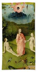 The Garden Of Earthly Delights The Garden Of Eden, Left Wing Of Triptych, C.1500 Oil On Panel Bath Towel