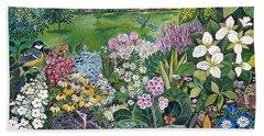 The Garden With Birds And Butterflies Hand Towel