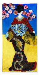 Hand Towel featuring the tapestry - textile The Geisha by Apanaki Temitayo M