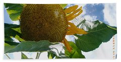 Hand Towel featuring the photograph The Gigantic Sunflower by Verana Stark