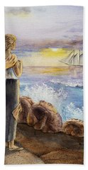 The Girl And The Ocean Hand Towel by Irina Sztukowski