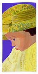 Hand Towel featuring the painting The Girl With The Straw Hat by Rodney Campbell