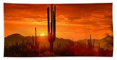 The Golden Southwest Skies  Bath Towel by Saija  Lehtonen