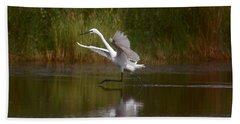 Bath Towel featuring the photograph The Great Egret by Leticia Latocki